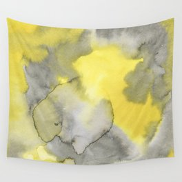Hand painted gray yellow abstract watercolor pattern Wall Tapestry