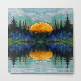 SURREAL RISING GOLDEN MOON BLUE REFLECTIONS Metal Print