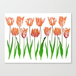 Tulip Garden Print in Shades of Coral Orange and Green Canvas Print