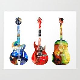 Guitar Threesome - Colorful Guitars By Sharon Cummings Art Print