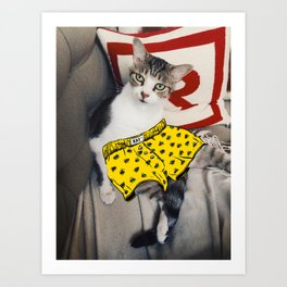 Cat in Underpants Art Print