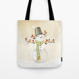 Snowman and Birds Tote Bag