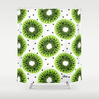 kiwi Shower Curtains featuring Kiwi by beach please