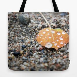Aspen Leaf and Water Droplets Tote Bag