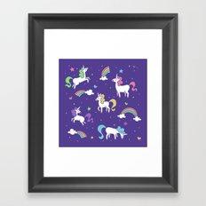 Unicorns and Rainbows - Purple Framed Art Print
