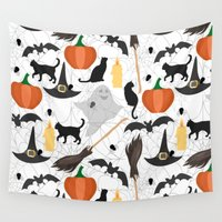 halloween Wall Tapestries featuring Halloween by Julia Badeeva