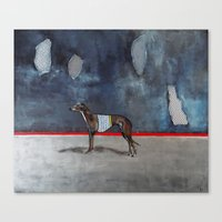 greyhound Canvas Prints featuring greyhound by Agnes Florko