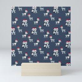 Christmas Alpaca friends and santa hats kids pattern blue navy Mini Art Print