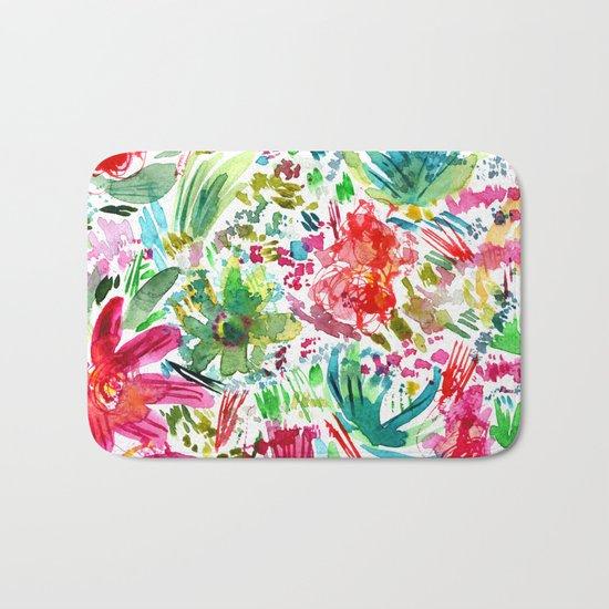 Spring vibes || watercolor Bath Mat