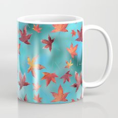 Dead Leaves over Cyan Mug