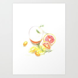 Citruses and drink Art Print