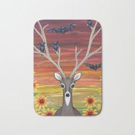 white tailed deer, bats, black eyed susans Bath Mat