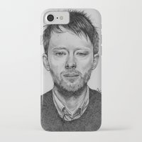 radiohead iPhone & iPod Cases featuring Radiohead - Thom Yorke Pencil Drawing by Florencia Mir
