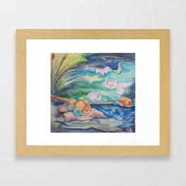 Pond With Squirtle And Goldeen Framed Art Print