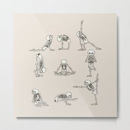 Skeleton Yoga Metal Print