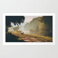Deer Dawn Art Print