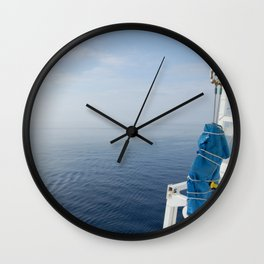 Blue And White Ship's Delight Wall Clock