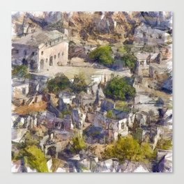Rock Village of Kayakoy AKA Levissi Pencil Sketch Canvas Print