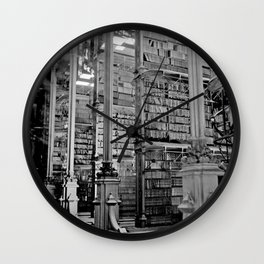 A Book Lover's Dream - Cincinnati Public Library black and white photographs / black and white photo Wall Clock
