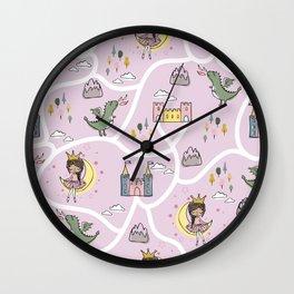 Childish seamless pattern with princess and dragon Wall Clock