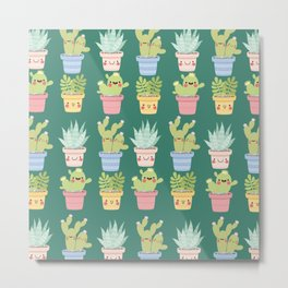 Succulents and Cactus Party Metal Print