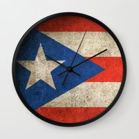 puerto rico Wall Clocks featuring Old and Worn Distressed Vintage Flag of Puerto Rico by Jeff Bartels
