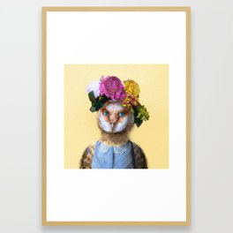 Lady Owl with Head Flowers Bouquet Framed Art Print