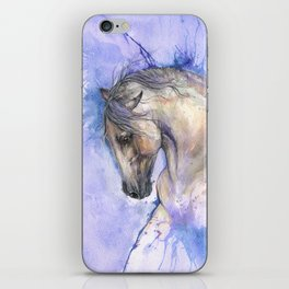 Horse on purple background iPhone Skin