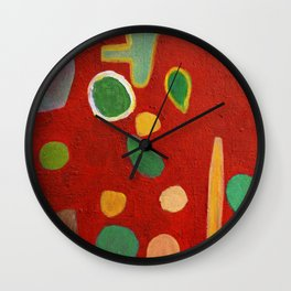Scattered Things over Red Wall Clock