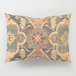 Geometric Leaves III // 18th Century Distressed Red Blue Green Colorful Ornate Accent Rug Pattern Pillow Sham
