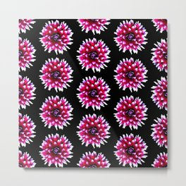 Dahlias Pattern  in Pink, Red Metal Print