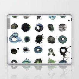 Blue Splats and Blobs. Watercolor and Ink. Abstract Art, Contemporary Art, Square Print, Minimal. Laptop & iPad Skin