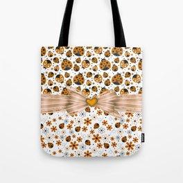 Fancy Orange Ladybugs and Flowers Tote Bag