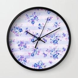 Vintage bohemian navy blue lavender floral stripes Wall Clock