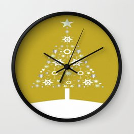 Christmas Tree Made Of Snowflakes On Gold Background  Wall Clock