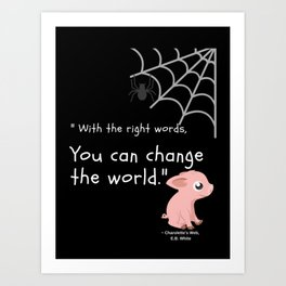 Charlotte's Web Wilbur Pig and Spider Children's Art Art Print