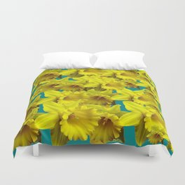 YELLOW SPRING DAFFODILS ON TEAL COLOR ART Duvet Cover