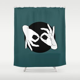 Sign Language (ASL) Interpreter – White on Black 07 Shower Curtain