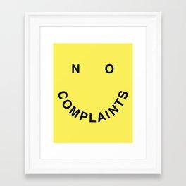 No Complaints Yellow + Black Framed Art Print