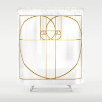 fibonacci Shower Curtains featuring Heart of Gold by Melek Design