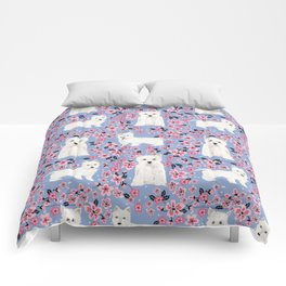 Westie cherry blossoms west highland terrier cutest fluffy white dog breed pattern art Comforters