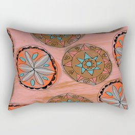 Pink Pennsylvania Dutch Hex Pattern Rectangular Pillow