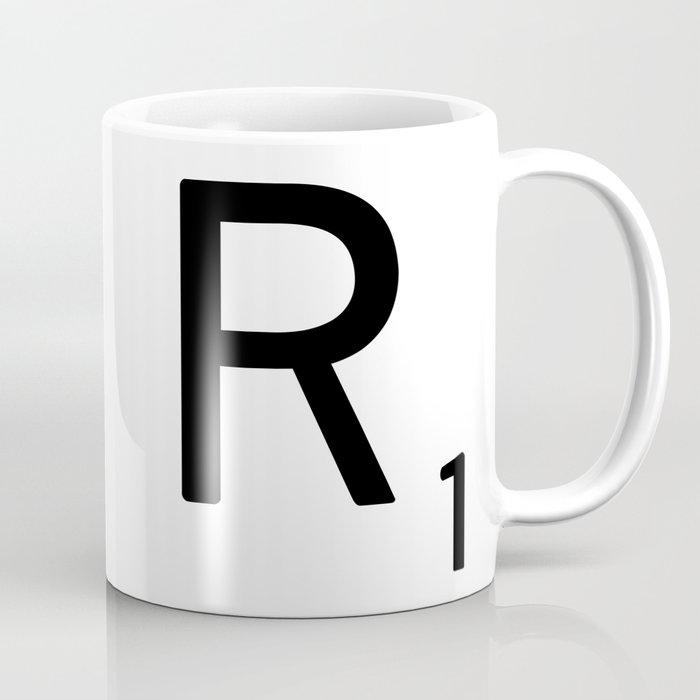 letter r custom scrabble letter tile art scrabble r initial coffee mug