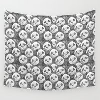 pandas Wall Tapestries featuring Love Pandas by Katrina Ward