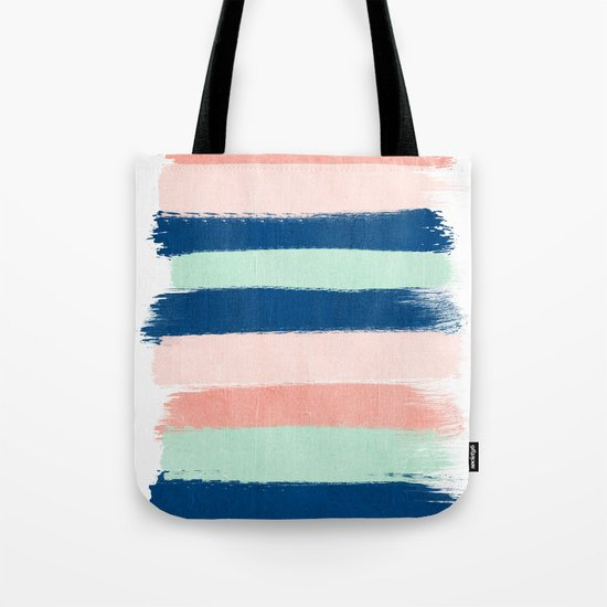 Stripes painterly pastel trendy color way modern home decor dorm nursery style Tote Bag