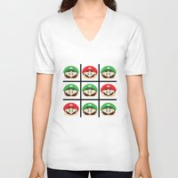 luigi V-neck T-shirts featuring Super Mario Luigi  by Xiao Twins
