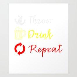 Throw Drink Repeat  Horseshoe Pitching Art Print