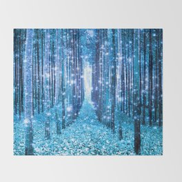 Magical Forest  Light Blue Turquoise Throw Blanket