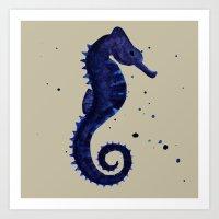sea horse Art Prints featuring Sea Horse by Chrystal Elizabeth