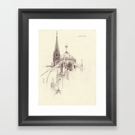 Notre Dame Cathedral Sketch Framed Art Print